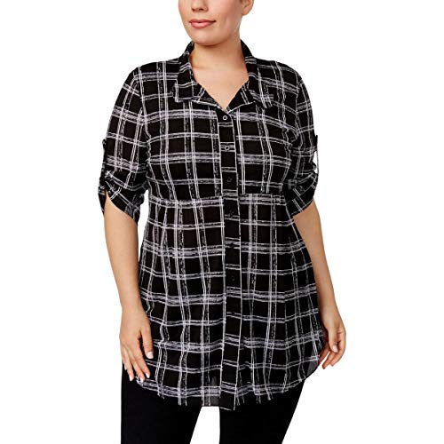 (Style & Co. Womens Plus Printed Tunic Button-Down Top Black 3X)