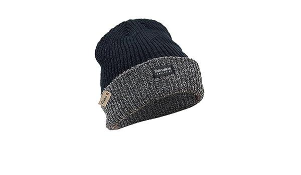 FLOSO - Gorro grueso térmico de invierno para la Montaña/Nieve/Invierno Unisex Hombre/Mujer (3M 40g) (Talla Única/Negro/ Gris): Amazon.es: Ropa y accesorios