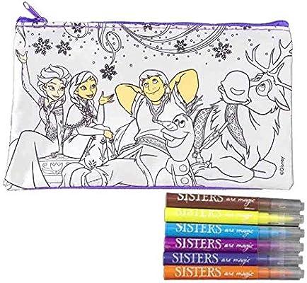 Générique – Neceser Frozen de Disney a para colorear, estuche a para colorear con 6 rotuladores, estuche con Mini Rotuladores: Amazon.es: Hogar