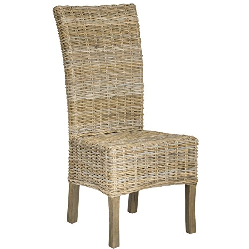 Safavieh Home Collection Quaker Natural Dining Chair (Set of 2) (Wicker Back Dining Chairs)