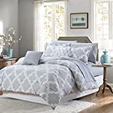 Sweet Home Collection 9 Piece Oversized Goose Down Alternative Comforter Set, Queen, Light Gray
