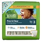 Seventh Generation Free and Clear Sensitive Skin Baby Diapers with Animal Prints, Size 3, 155 Count (One Month Supply)
