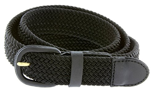 Belts.com Leather Covered Buckle Woven Elastic Stretch Belt, Black, (XL(40