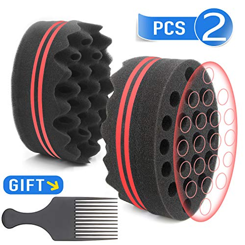 Parabirds Curl Twist Hair Sponge Big Holes Brush Double-Sided Comb for Afro Hair Pick(2Pcs) (2PCS red Round)