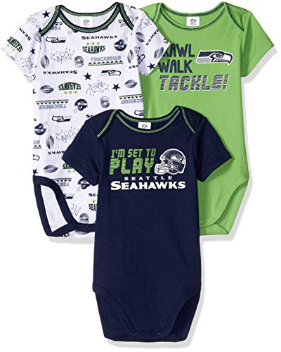 - NFL Seattle Seahawks Unisex-Baby 3-Pack Short Sleeve Bodysuits, Blue, 18 Months