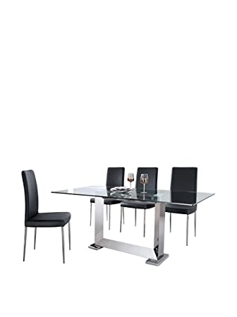 Armen Living Posto Stainless Steel Dining Table With 4 Dining Chairs Set Black  sc 1 st  Amazon.com & Amazon.com - Armen Living Posto Stainless Steel Dining Table With 4 ...