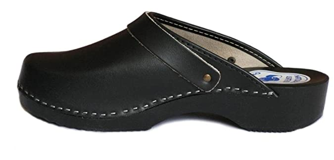 BeComfy Zapatillas de hombres de cuero, negro, suela de madera, tamaños 40-46, model VK52 (44, Negro)