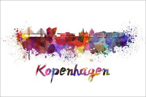 Kopenhagen Skyline in Aquarell