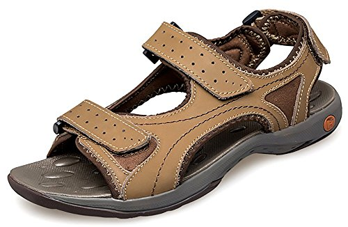 Odema Mens Summer Leather Open-toed Strap Outdoor Athletic Sport Sandals Khaki iuPOJ