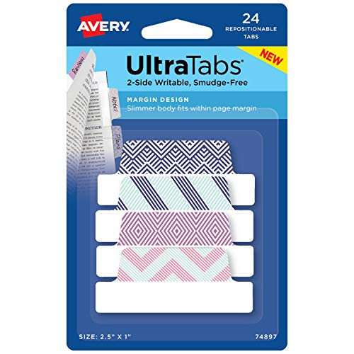 Avery Margin Ultra Tabs, 2.5 x 1, Multicolor Geometric Designs, 24 Repositionable Page Tabs (74897)