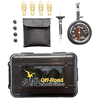 Griffin Offroad Tire Deflator Kit with 80 psi Gauge, 4 Valve Caps, Tire Tread Depth Gauge | Automatic, Adjustable Deflator Tool Kit for Cars, Suvs, Trucks, Motorcycles, ATVs, 4x4, Offroading Tools: Automotive