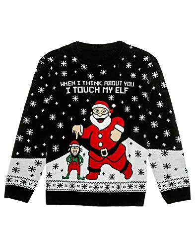 I Touch My Elf Ugly Christmas Sweater Funny Men Women Xmas Sweater Large Multicolor