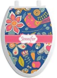 RNK Shops Owl & Hedgehog Toilet Seat Decal - Elongated (Personalized)