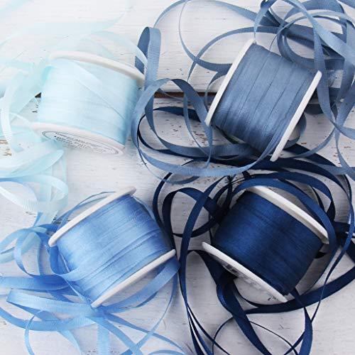 Threadart 4mm Silk Ribbon Set - Blue Shades - Four Spool Collection - 100% Pure Silk Ribbon - 10m (11yd) Spools - 44 Yards of Ribbon