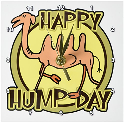 3dRose dc_159497_1 Funny Happy Hump Day Camel Cartoon Design Desk Clock, 6 by 6-Inch