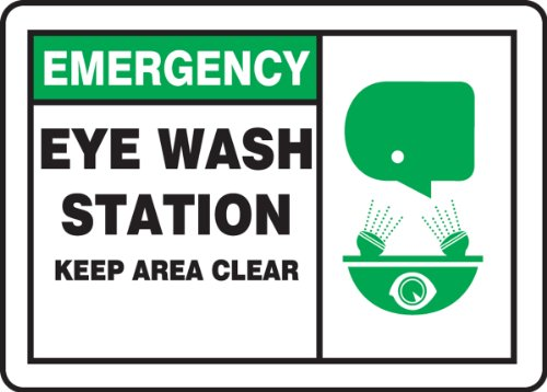 Accuform MRSD905VA Aluminum Safety Sign Green//Black on White Keep area clear LegendEMERGENCY Eye Wash Station 10 Length x 7 Width with Graphic