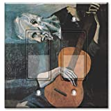 Printed Decora Rocker Style Double Switch with matching Wall Plate - Picasso - The Old Guitarist