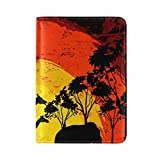 LORVIES Sunset In Wild Africa Leather Passport Holder Cover Case for Travel One Pocket