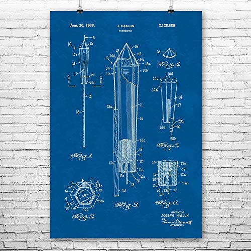 Sky Rocket Poster Print, Bottle Rocket, Pyrotechnics Gifts, Fire Works Store, Independence Day, Fireworks Stand Blueprint (8