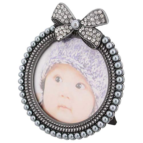 Multifit Creative Rhinestone Decorated Butterfly-Tie Picture Frame,3X3 Photo Display for Desk