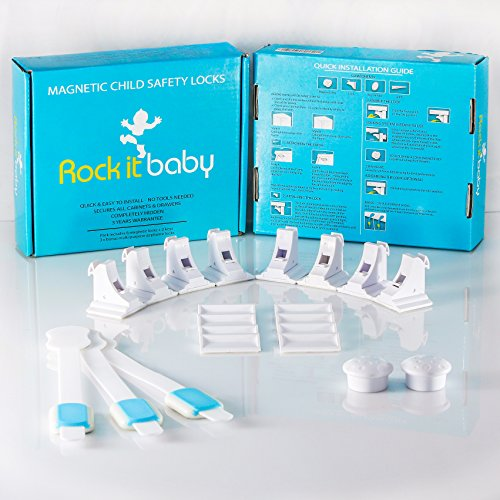 Rock It Baby Safety Magnetic Locks For Cabinets & Drawers. Hidden, Easy Installation, No Drill. ChildProof Your Cupboards & Keep Your Child Safe In Just 5 Mins! 8 Locks 2 Keys Bonus 3 Adhesive Latches
