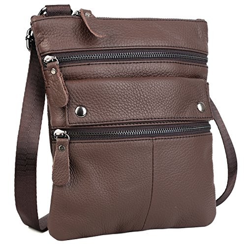 Yaluxe Super Lightweight Unisex Genuine Leather Casual Small Backpack Shoulder Bag Fits Multiple Compartments 7.9 5.8 Ipad Mini Largest Mobile Brown Beige