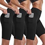 Cadmus Women's High Waist Athletic Running Workout Shorts with Pocket,3 Pack,06,Black,X-Large