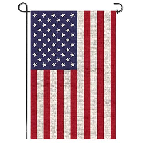 Mogarden American Garden Flag, Double Sided, 12.5 x 18 Inches, Weatherproof Thick Burlap USA Yard Flag