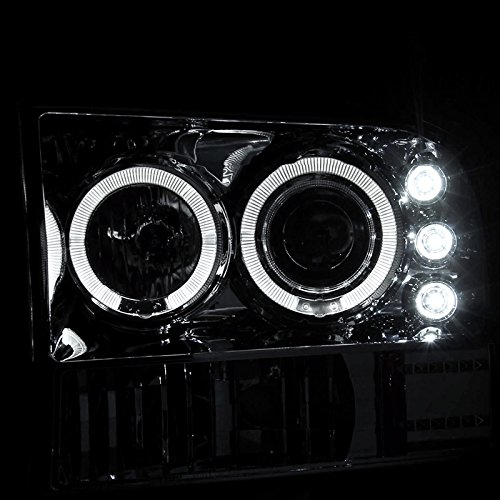 Spec-D Tuning 2LHP-F25099-TM Ford F250 F350 Led Chrome Clear Projector Halo Head Lights by Spec-D Tuning (Image #3)