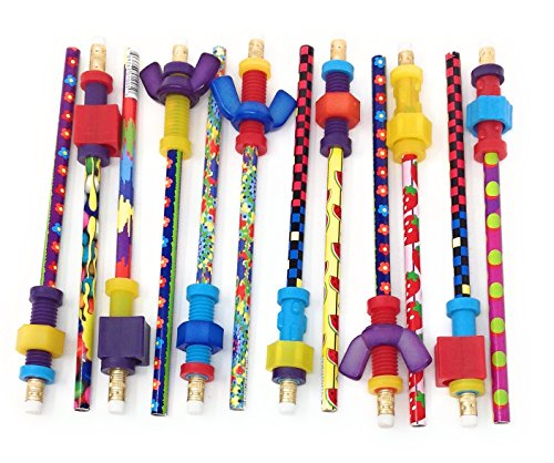 Pencil Finger Fidget Toppers with Pencils (Assorted Styles) (Set of 12) by Abilitations (Image #1)