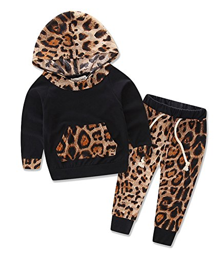 Price comparison product image Alleppa Baby Girls Printed 2PCS Set Outfit Cuffed Long Sleeve Hoodie with Kangaroo Pocket Top Floral Pant,Black-Leopard,1T-2T