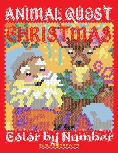 CHRISTMAS ANIMAL QUEST Color By Number Activity Puzzle Coloring Book For Adults Relaxation Stress