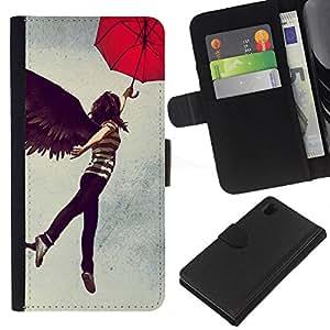 KingStore / Leather Etui en cuir / Sony Xperia Z1 L39 / Resumen del vuelo Muchacha del paraguas