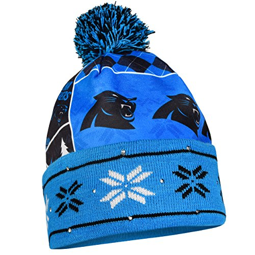 Panthers Hat Santa (Carolina Panthers Exclusive Busy Block Printed Light Up Beanie)