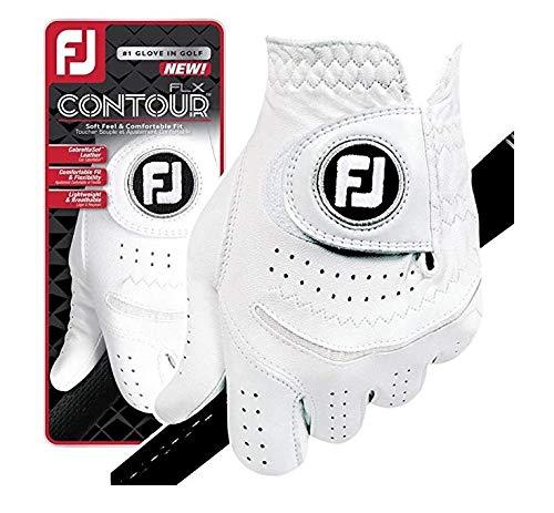 FootJoy New Contour FLX Flex Men's Premium Golf Glove w/CabrettaSof Leather #1 Glove in Golf (Medium Large 2 Pack, Worn on Left Hand)