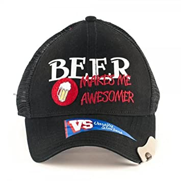 571eff00239 Bioworld Beer Makes Me Awesome Embroidered Printed Adjustable Hat with  Bottle Opener Bill  Amazon.co.uk  Sports   Outdoors
