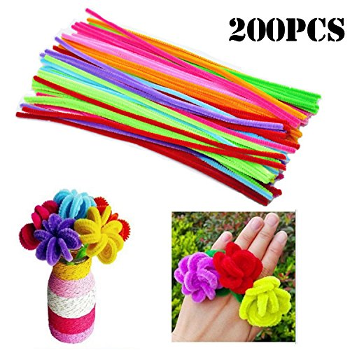 (MANSHU 200 Pieces Pipe Cleaners 6 mm x 12 Inch for DIY Art Craft, 10 colors Mixed Pack)