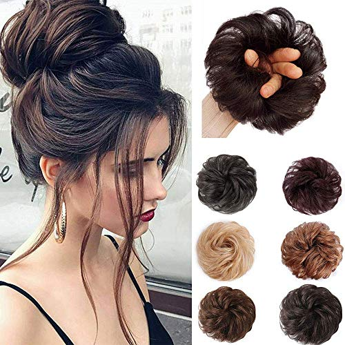 Stamped Glorious 100% Real Human Hair Bun Curly Messy Bun Hair Extensions Wedding Hair Pieces for Women Kids Hair Updo Donut Chignons Hair Pieces Up Scrunchie Scrunchy Extensions (Dark Brown)