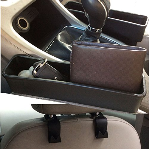 Car seat Side Pocket Organizer, Car Catcher, Gap Filler in Between Seat & Console (Set of 2) With Bonus 2 Car Hooks (Black) Mayco Bell