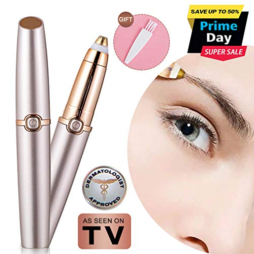 - Eyebrow Hair Remover Electric Eyebrow Razor Trimmer Epilator for Women Portable Lightweight Eyebrow Pencil Razor Tool Battery Operated (Battery Not Included) Rose Gold Mom Gift