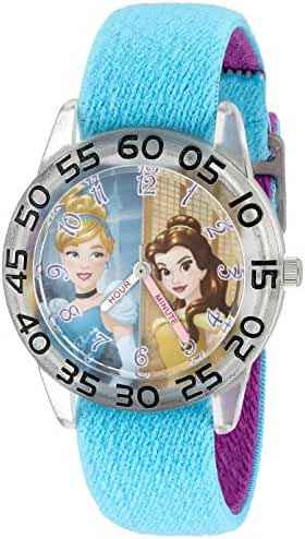Disney Girl's 'Cinderella' Quartz Plastic and Nylon Automatic Watch, Color:Blue (Model: W002946)