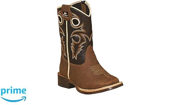 9450e01e5c3 Double Barrel Toddler-Boys' Trace Zipper Cowboy Boot Square Toe Brown 4 US