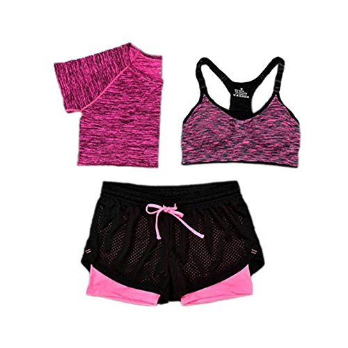 (Women Bra T-Shirt Sports 3 Piece Sets Running Sports Yoga Gym Outfit Workout Athletic Suit Set (M, Rose red))