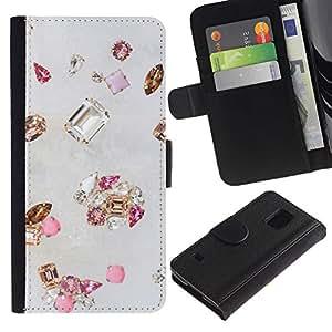 Paccase / Billetera de Cuero Caso del tirón Titular de la tarjeta Carcasa Funda para - gem diamond stone bling gold pink - Samsung Galaxy S5 V SM-G900