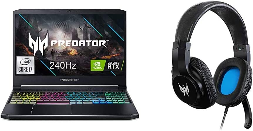 "Acer Predator Helios 300 Gaming Laptop, Intel i7-10750H, NVIDIA GeForce RTX 2070 Max-Q 8GB, 15.6"" FHD 240Hz 3ms IPS, 16GB Dual-Channel DDR4, 512GB NVMe SSD, 1TB HDD with Gaming Headset"