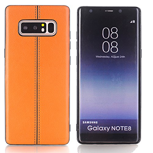 Price comparison product image TechCode Galaxy Note8 Back Case, Premium PU Leather Lightweight Luxury Stylish Classic Style Slim Fit Retro Ultra Thin Full Body Protective Cover Case for Samsung Galaxy Note8 6.3 inch,Brown