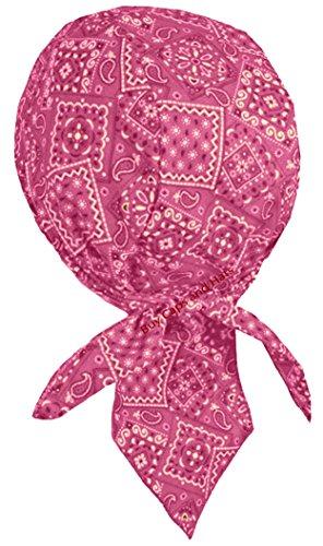 Hot Bandana Pink Paisley Made (Paisley Doo-Rag Skull-Cap USA MADE with SWEATBAND Chemo Du-Bandana (Hot Pink Paisley))