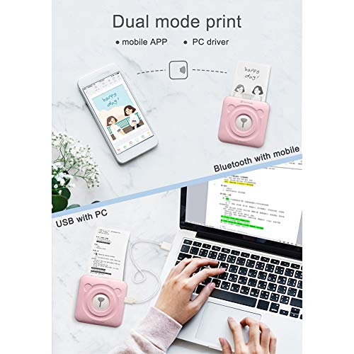 Softmusic Office Electronics Portable Cute Bear Wireless Bluetooth Thermal Paper Photo Pocket Label Printer White by Softmusic (Image #4)