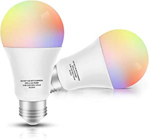 Smart LED Bulb WiFi Multicolor Light Bulb Compatible with Alexa, Echo, Google Home No Hub Required, E26 A19 60W Equivalent RGBW Color Changing, 9.5W White 2700K-5500K Dimmable UL Listed, 2pack