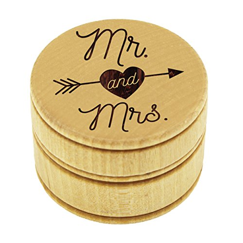 My Personal Memories Wood Ring Box Holder - Ring Bearer Pillow Alternative - Wooden Round Wedding Rings Holder (Mr and Mrs Arrow Style - Brown)